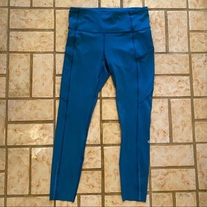 Lululemon Fast and Free Teal Leggings 25""